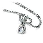 Pear Shaped Diamond Pendant Necklace In Platinum (1/5 ctw) | Thumbnail 03