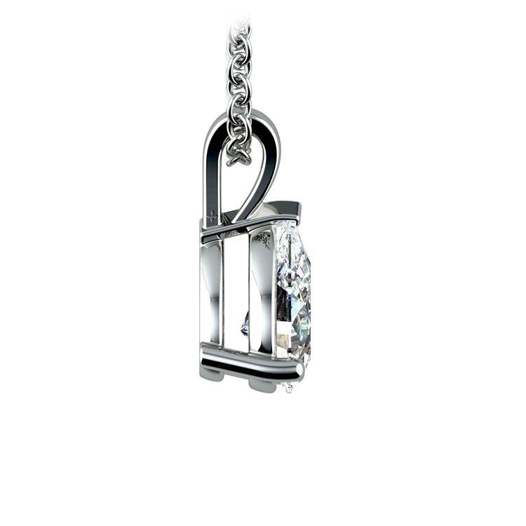 Pear Diamond Solitaire Pendant in Platinum (1 ctw) | 02