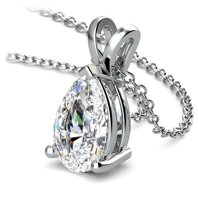 Pear Diamond Solitaire Pendant in Platinum (3 ctw) | 03