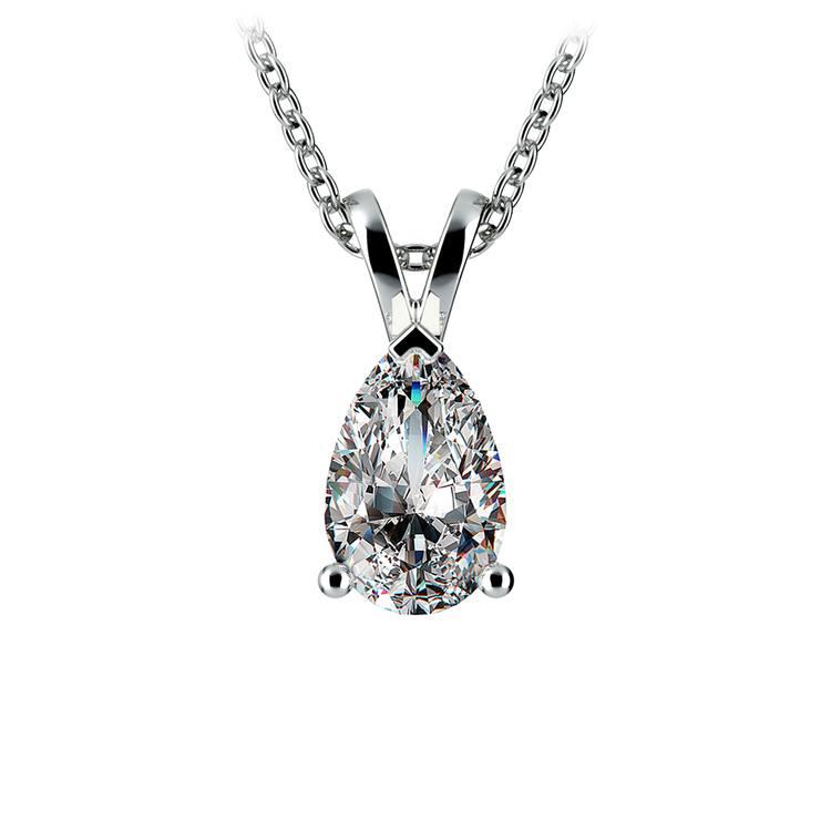 Pear Diamond Solitaire Pendant in White Gold (1 1/2 ctw) | 01