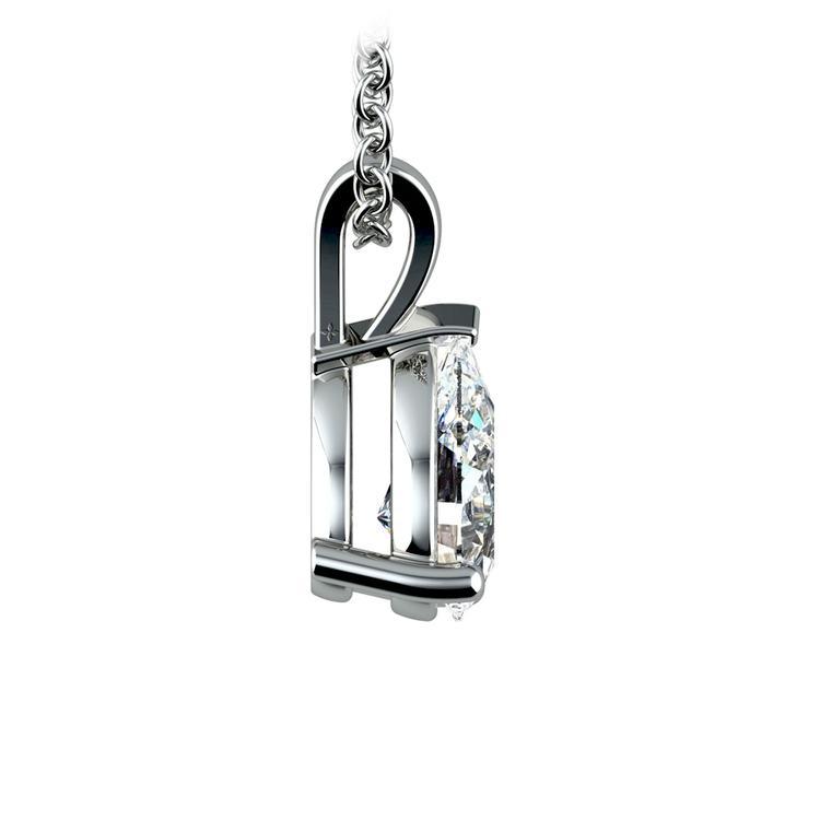 Pear Diamond Solitaire Pendant in White Gold (1 1/2 ctw) | 02