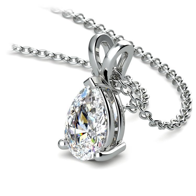 Pear Diamond Solitaire Pendant in White Gold (1 1/2 ctw) | 03