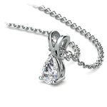 Pear Diamond Solitaire Pendant in White Gold (1/3 ctw) | Thumbnail 03