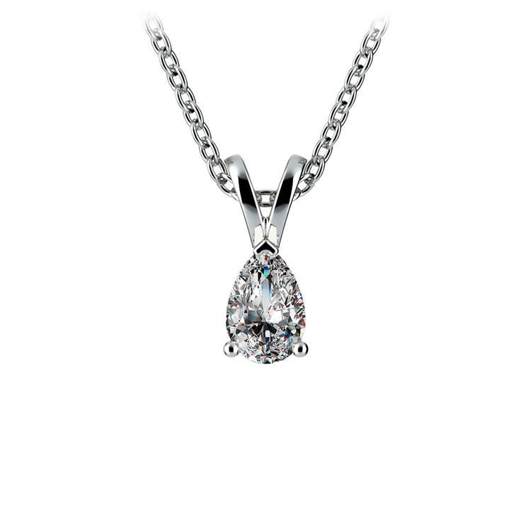 Pear Diamond Solitaire Pendant in White Gold (1/3 ctw) | 01