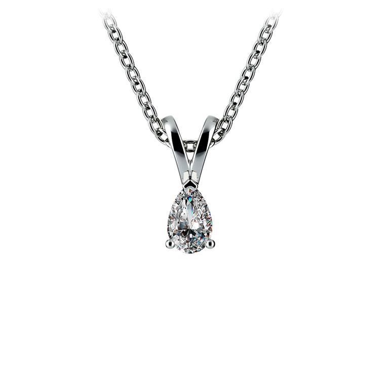 14k White Gold 1/4 Ctw Pear Shaped Diamond Pendant Necklace | 01