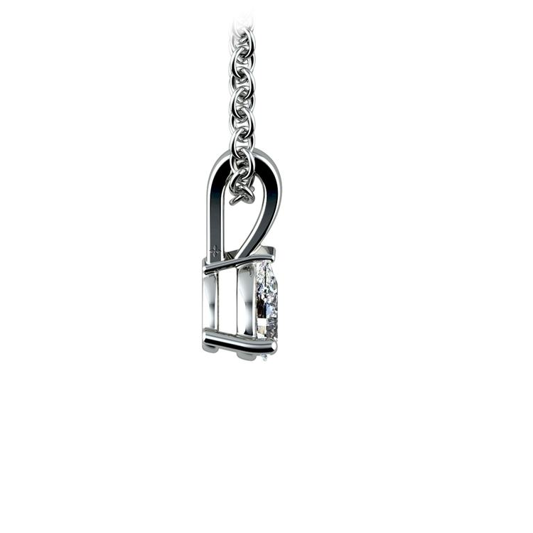 14k White Gold 1/4 Ctw Pear Shaped Diamond Pendant Necklace | 02