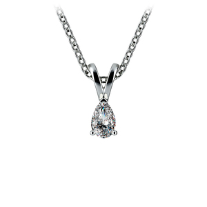 Pear Diamond Solitaire Pendant in White Gold (1/5 ctw)