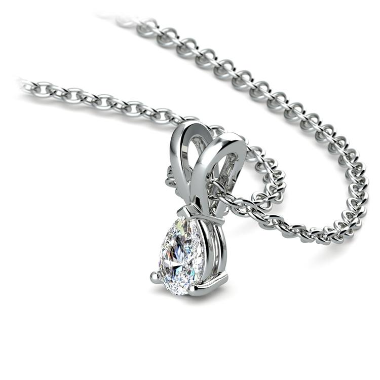Pear Diamond Solitaire Pendant in White Gold (1/5 ctw) | 03