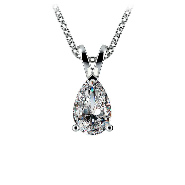 Pear Diamond Solitaire Pendant in White Gold (1 ctw) | 01