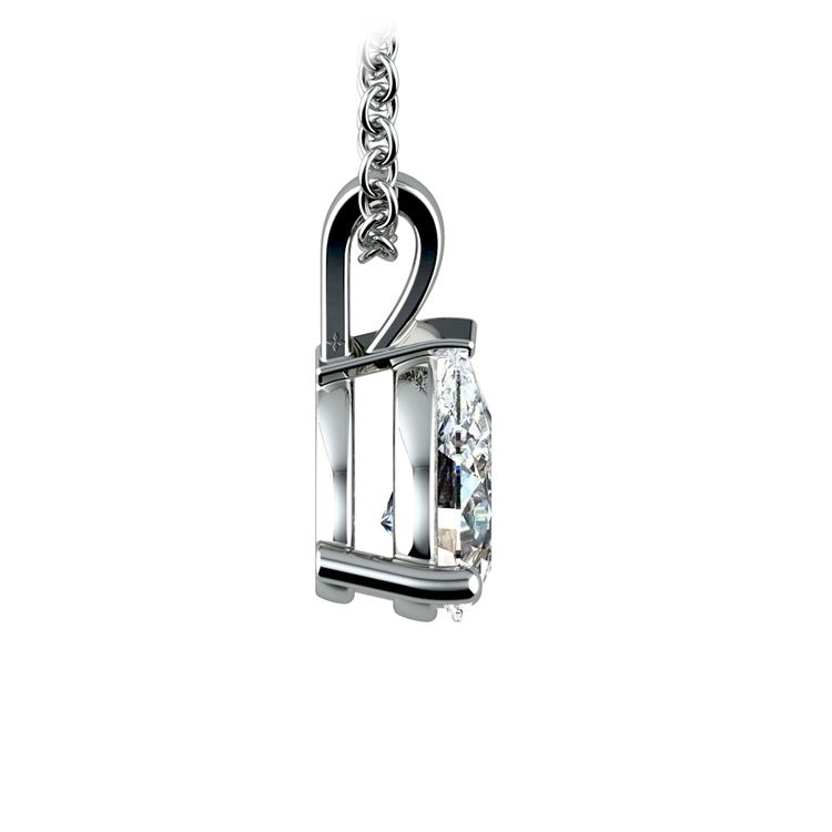 Pear Diamond Solitaire Pendant in White Gold (1 ctw) | 02