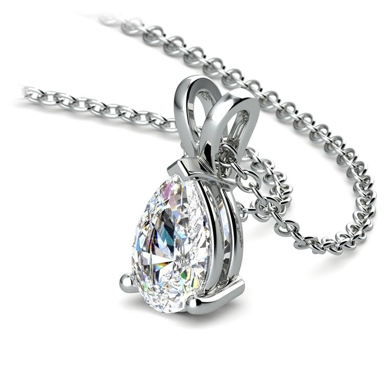 Pear Diamond Solitaire Pendant in White Gold (1 ctw) | 03