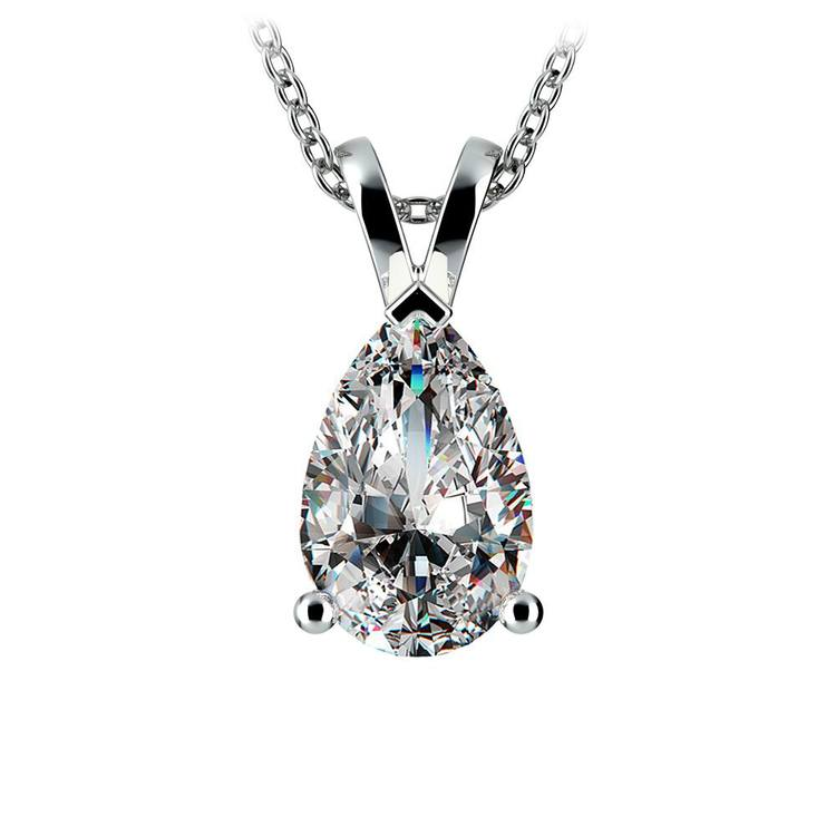 Pear Diamond Solitaire Pendant in White Gold (2 ctw) | 01