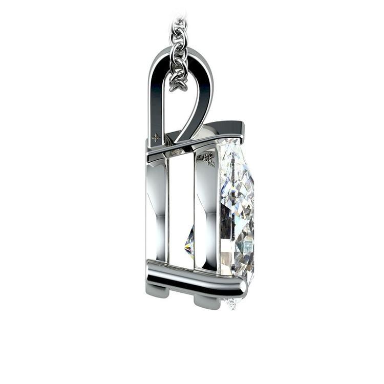 Pear Diamond Solitaire Pendant in White Gold (2 ctw) | 02