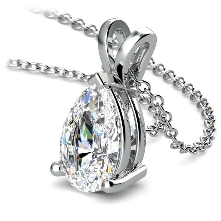 Pear Diamond Solitaire Pendant in White Gold (2 ctw) | 03