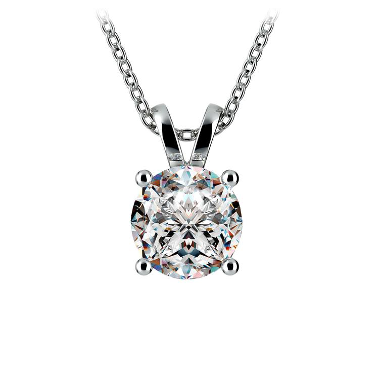 Pear Diamond Solitaire Pendant in White Gold (2 ctw)   01