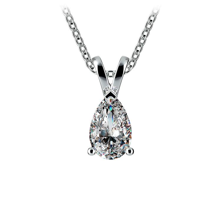 Pear Diamond Solitaire Pendant in White Gold (3/4 ctw) | 01