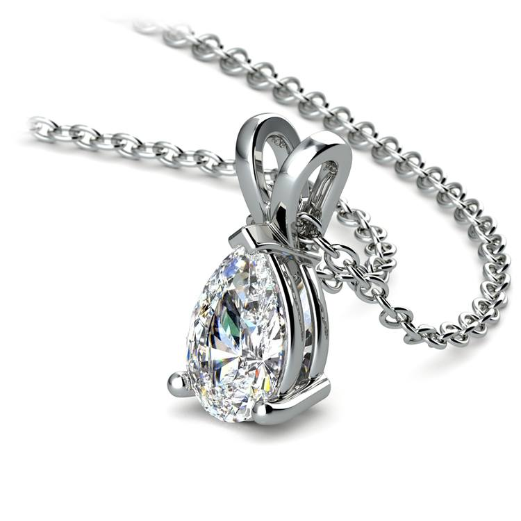 Pear Diamond Solitaire Pendant in White Gold (3/4 ctw) | 03