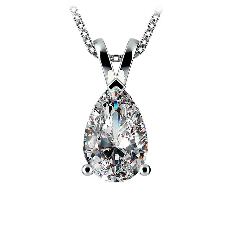 Pear Diamond Solitaire Pendant in White Gold (3 ctw) | 01