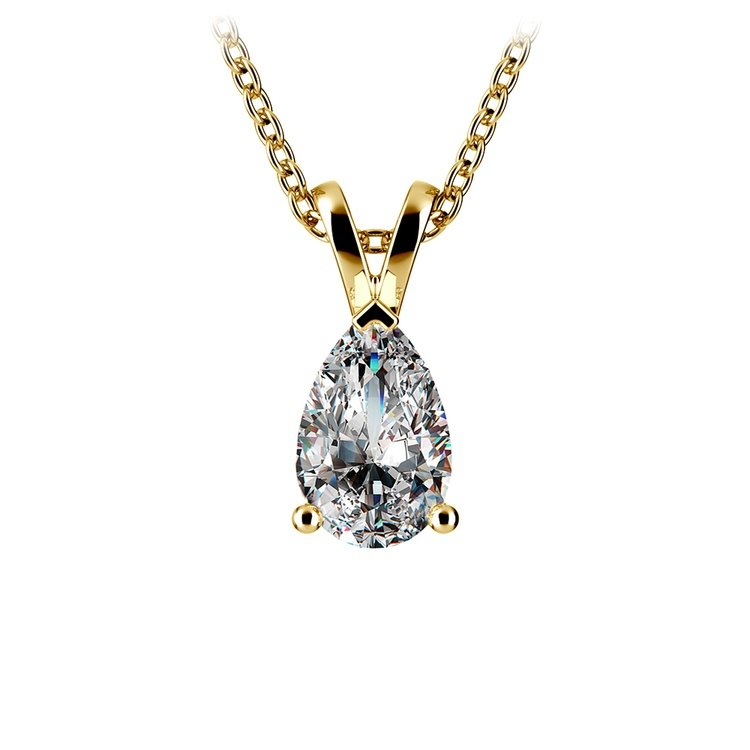 Pear Diamond Solitaire Pendant in Yellow Gold (1 ctw) | 01