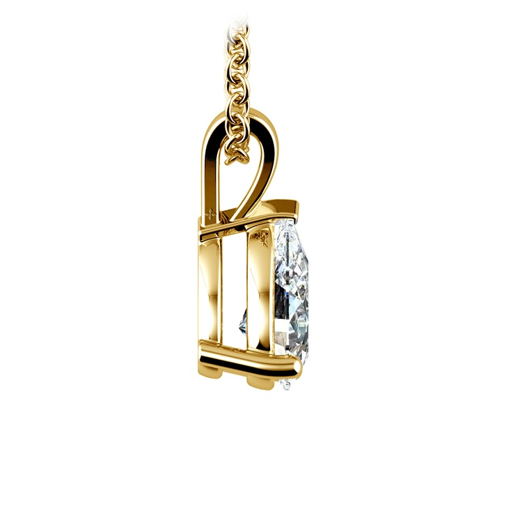 Pear Diamond Solitaire Pendant in Yellow Gold (1 ctw) | 02