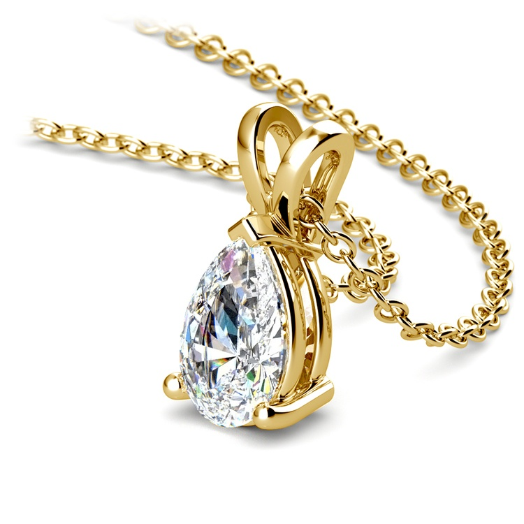 Pear Diamond Solitaire Pendant in Yellow Gold (1 ctw) | 03