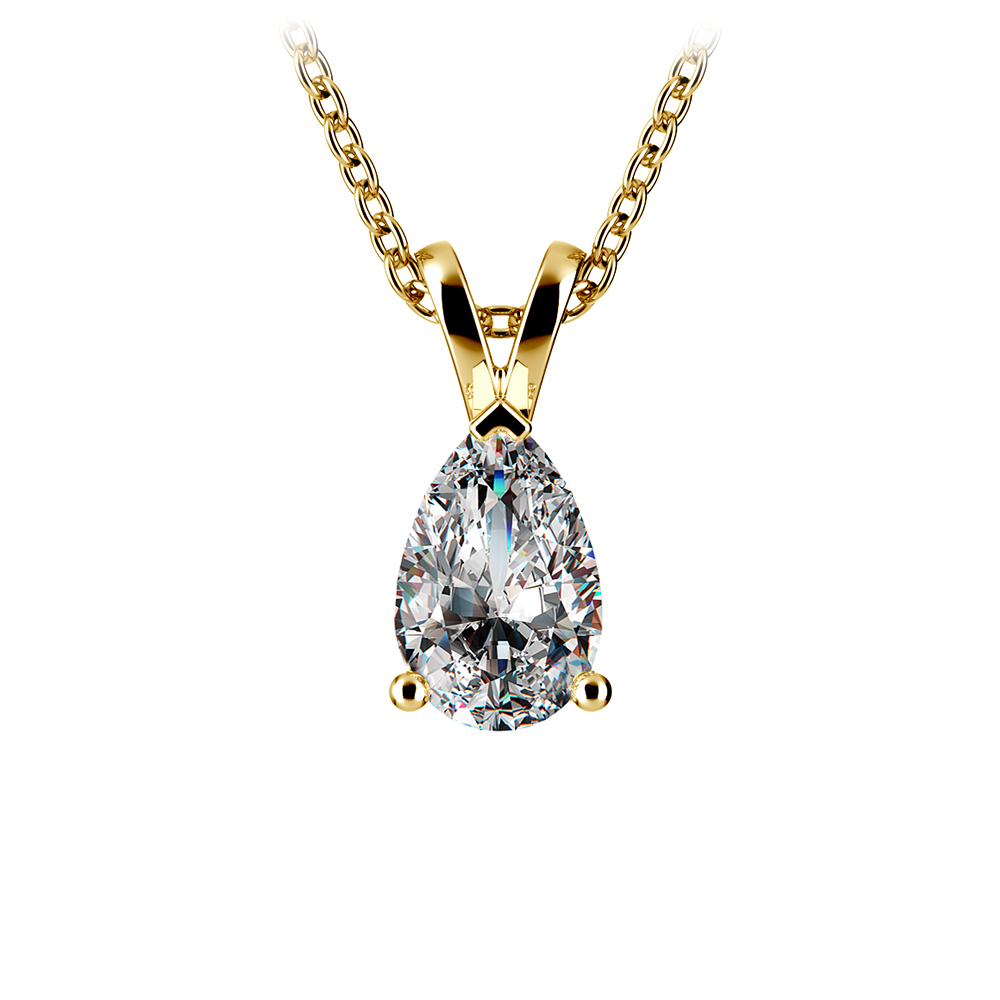 Pear Diamond Solitaire Pendant In Yellow Gold 1 Ctw
