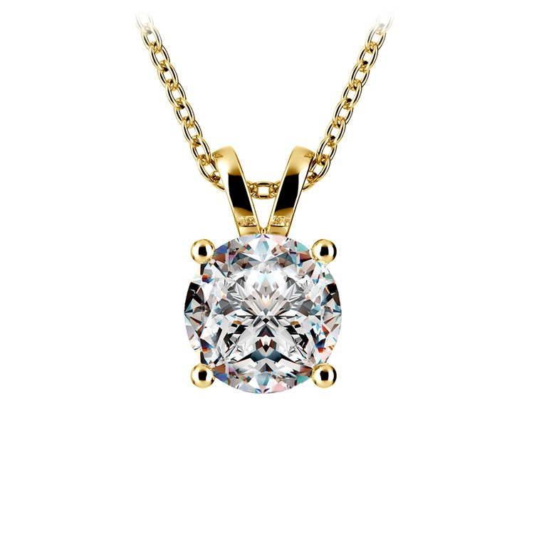 Pear Diamond Solitaire Pendant in Yellow Gold (2 ctw) | 01