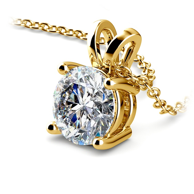Pear Diamond Solitaire Pendant in Yellow Gold (2 ctw) | 03