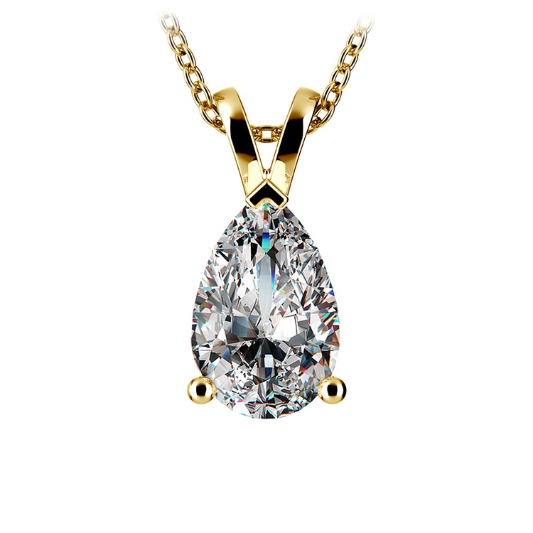 Pear Diamond Solitaire Pendant in Yellow Gold (3 ctw) | 01