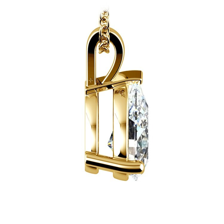 Pear Diamond Solitaire Pendant in Yellow Gold (3 ctw)   02