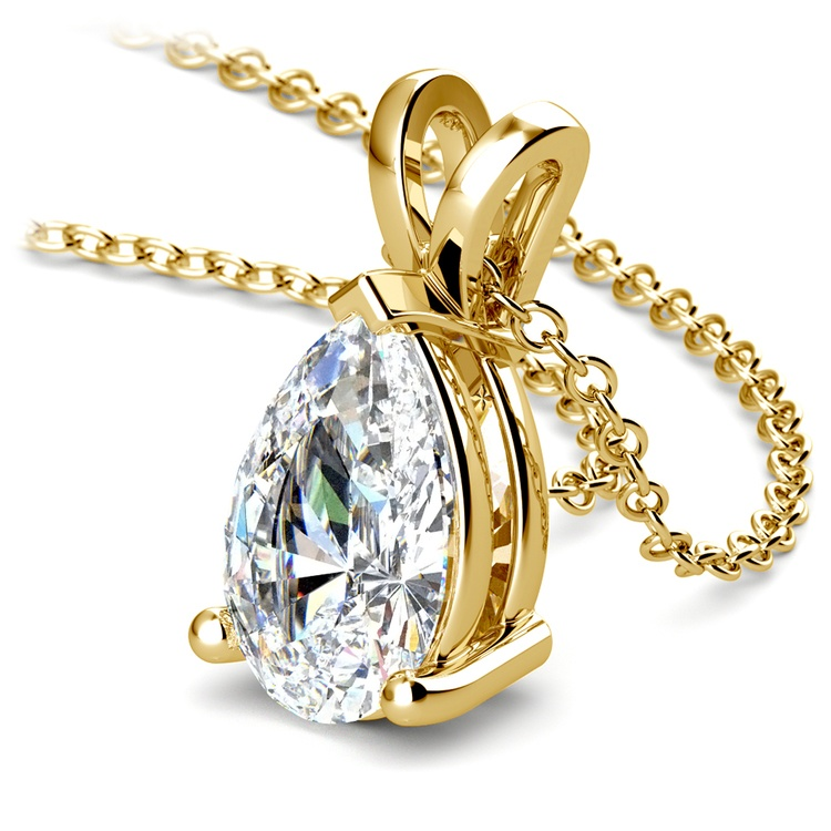 Pear Diamond Solitaire Pendant in Yellow Gold (3 ctw) | 03
