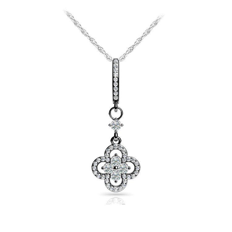 Petal Diamond Drop Pendant in White Gold | 01