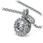 Petite Halo Diamond Pendant Setting in White Gold | Thumbnail 01