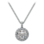 Petite Halo Diamond Pendant Setting in White Gold | Thumbnail 02