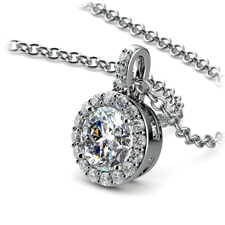 Petite Halo Diamond Pendant Setting in White Gold | 01