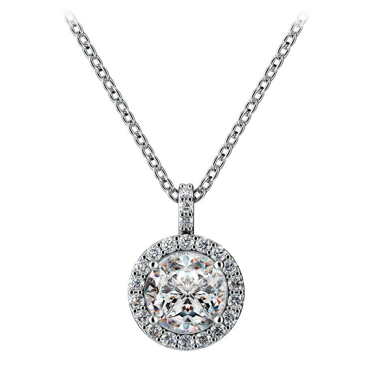 Petite Halo Diamond Pendant Setting in White Gold | 02