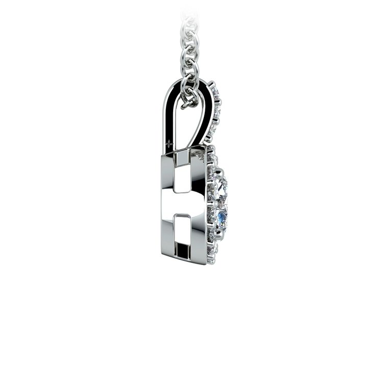 Petite Halo Diamond Pendant Setting in White Gold | 03