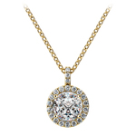 Petite Halo Diamond Pendant Setting in Yellow Gold | Thumbnail 02