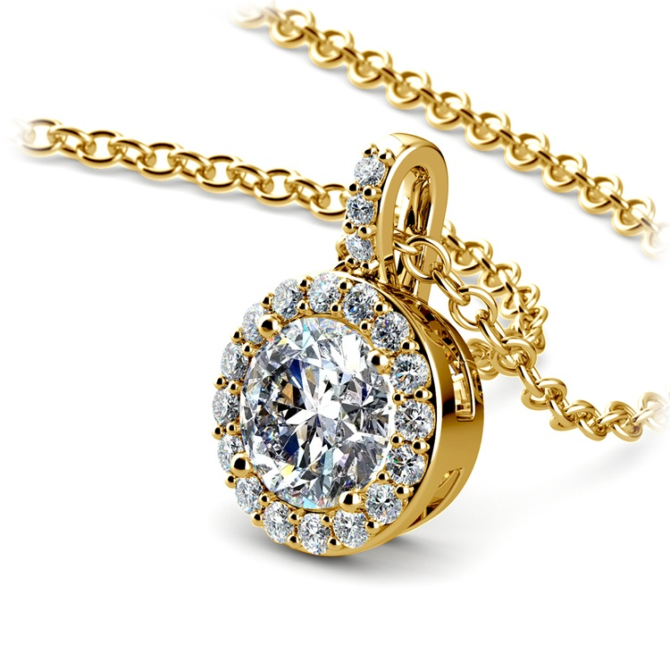 Petite Halo Diamond Pendant Setting in Yellow Gold | 01