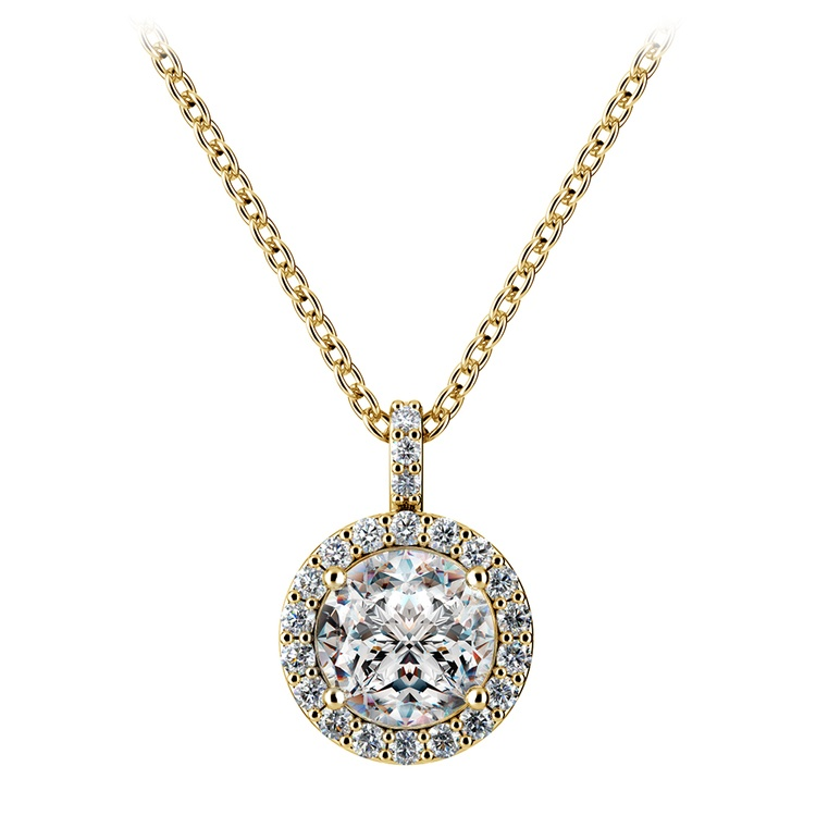Petite Halo Diamond Pendant Setting in Yellow Gold | 02