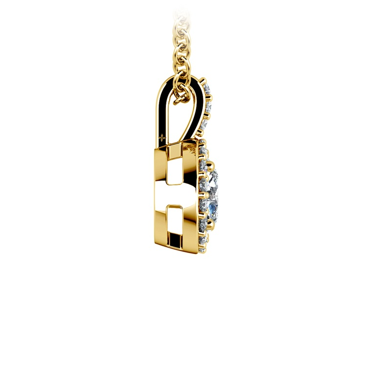 Petite Halo Diamond Pendant Setting in Yellow Gold | 03