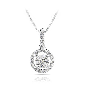 Petite Halo Drop Diamond Necklace in White Gold