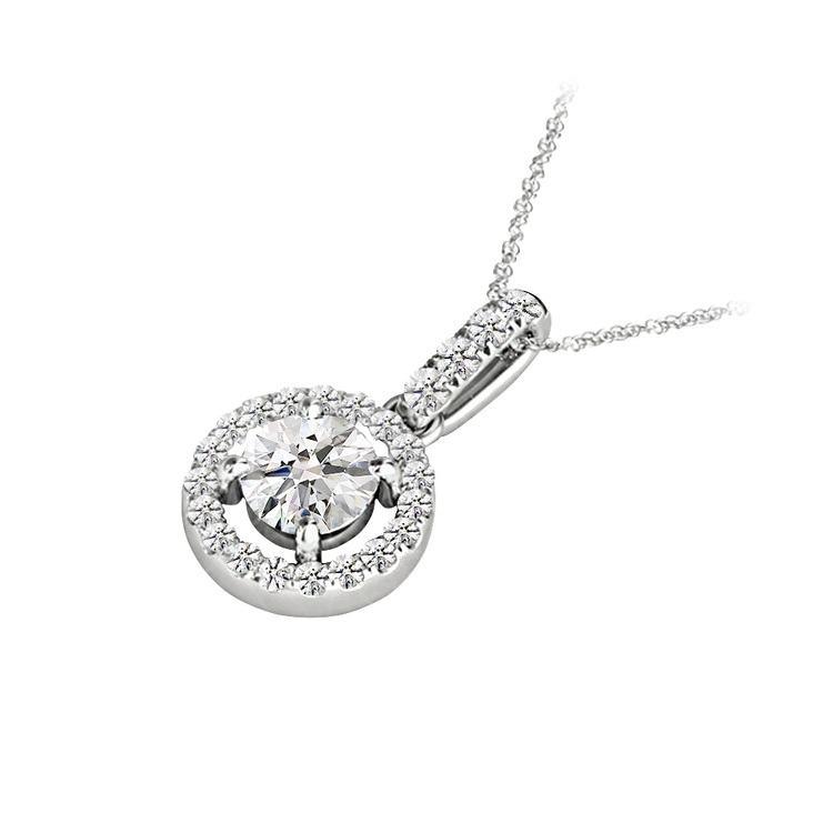 Petite Halo Drop Diamond Necklace in White Gold | 02