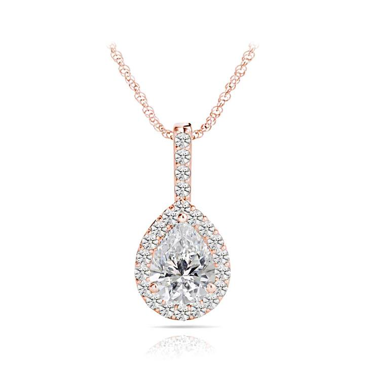 Petite Pear Halo Diamond Necklace In Rose Gold | 01