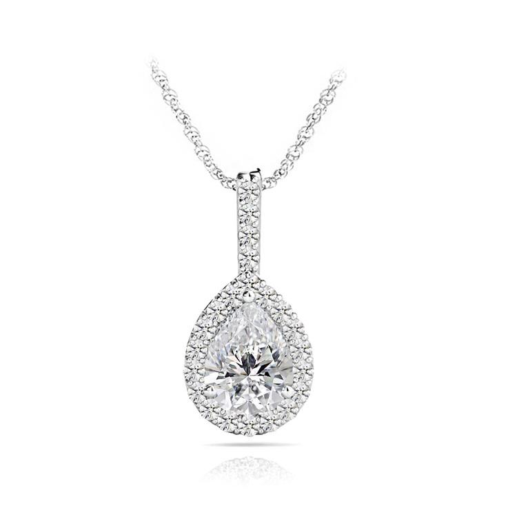 Petite Pear Halo Diamond Necklace In White Gold | 01