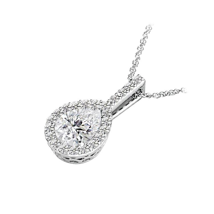 Petite Pear Halo Diamond Necklace In White Gold | 02