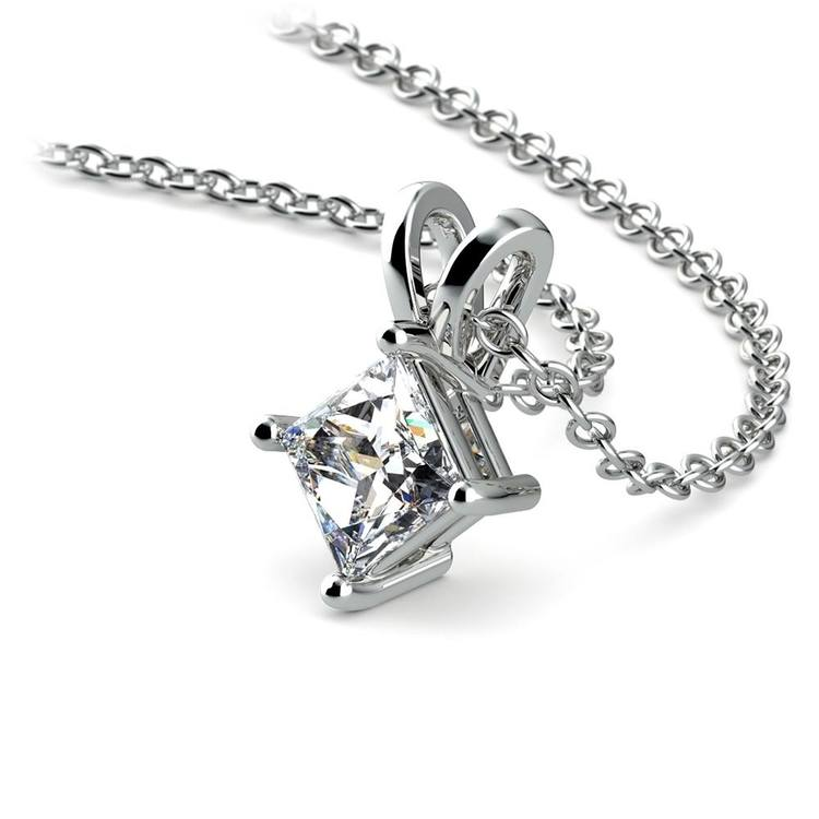 Princess Diamond Solitaire Necklace In White Gold (1/2 ctw) | 03