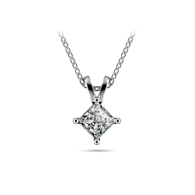 Princess Diamond Solitaire Necklace In White Gold (1/2 ctw) | 01