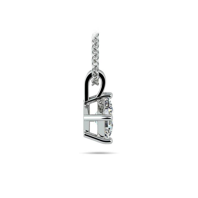 Princess Diamond Solitaire Necklace In White Gold (1/2 ctw) | 02