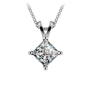 Princess Diamond Solitaire Pendant in Platinum (1 1/2 ctw)
